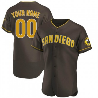 Men's Custom San Diego Brown Authentic Road Baseball Jersey (Unsigned No Brands/Logos)