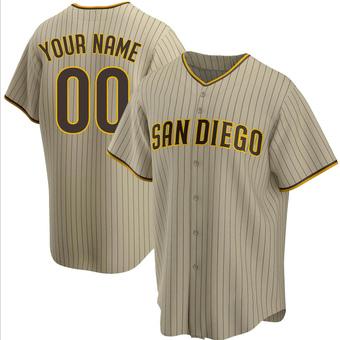 Men's Custom San Diego Sand/Brown Replica Alternate Baseball Jersey (Unsigned No Brands/Logos)