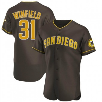 Men's Dave Winfield San Diego Brown Authentic Road Baseball Jersey (Unsigned No Brands/Logos)