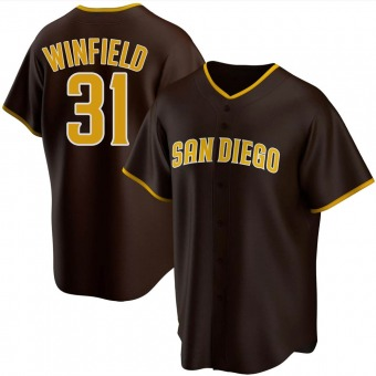 Men's Dave Winfield San Diego Brown Replica Road Baseball Jersey (Unsigned No Brands/Logos)