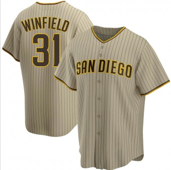Men's Dave Winfield San Diego Sand/Brown Replica Alternate Baseball Jersey (Unsigned No Brands/Logos)