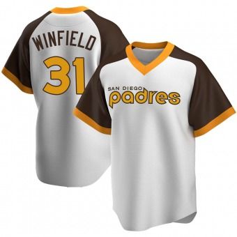 Men's Dave Winfield San Diego White Replica Home Cooperstown Collection Baseball Jersey (Unsigned No Brands/Logos)