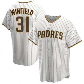 Men's Dave Winfield San Diego White/Brown Replica Home Baseball Jersey (Unsigned No Brands/Logos)