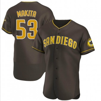 Men's Kazuhisa Makita San Diego Brown Authentic Road Baseball Jersey (Unsigned No Brands/Logos)
