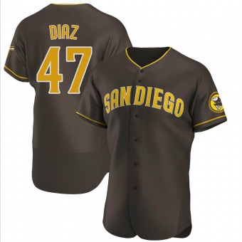 Men's Miguel Diaz San Diego Brown Authentic Road Baseball Jersey (Unsigned No Brands/Logos)