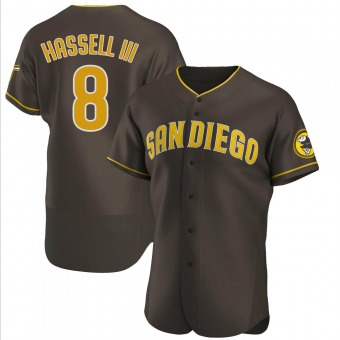 Men's Robert Hassell III San Diego Brown Authentic Road Baseball Jersey (Unsigned No Brands/Logos)