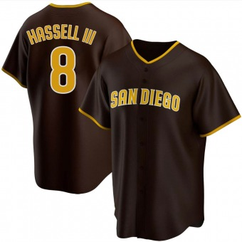 Men's Robert Hassell III San Diego Brown Replica Road Baseball Jersey (Unsigned No Brands/Logos)