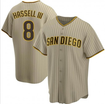 Men's Robert Hassell III San Diego Sand/Brown Replica Alternate Baseball Jersey (Unsigned No Brands/Logos)