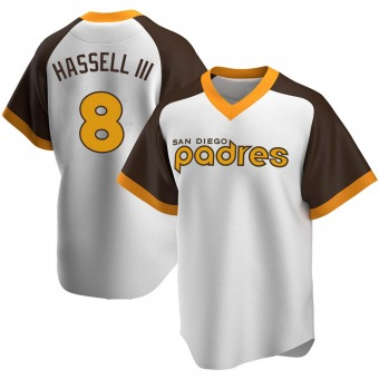 Men's Robert Hassell III San Diego White Replica Home Cooperstown Collection Baseball Jersey (Unsigned No Brands/Logos)