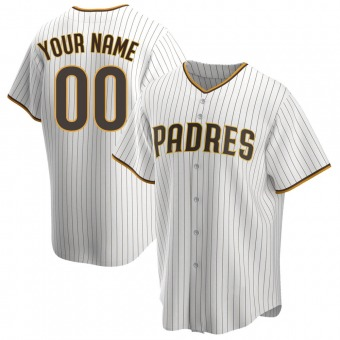Youth Custom San Diego White/Brown Replica Home Baseball Jersey (Unsigned No Brands/Logos)