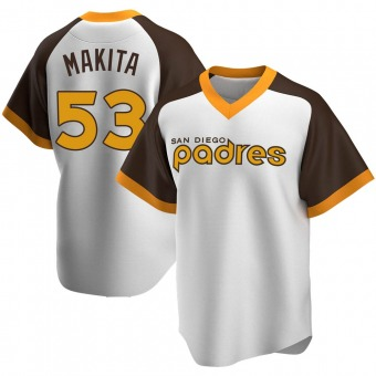 Youth Kazuhisa Makita San Diego White Replica Home Cooperstown Collection Baseball Jersey (Unsigned No Brands/Logos)
