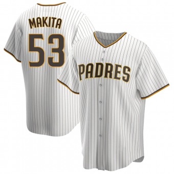 Youth Kazuhisa Makita San Diego White/Brown Replica Home Baseball Jersey (Unsigned No Brands/Logos)