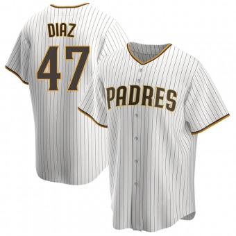 Youth Miguel Diaz San Diego White/Brown Replica Home Baseball Jersey (Unsigned No Brands/Logos)
