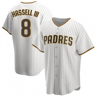 Youth Robert Hassell III San Diego White/Brown Replica Home Baseball Jersey (Unsigned No Brands/Logos)